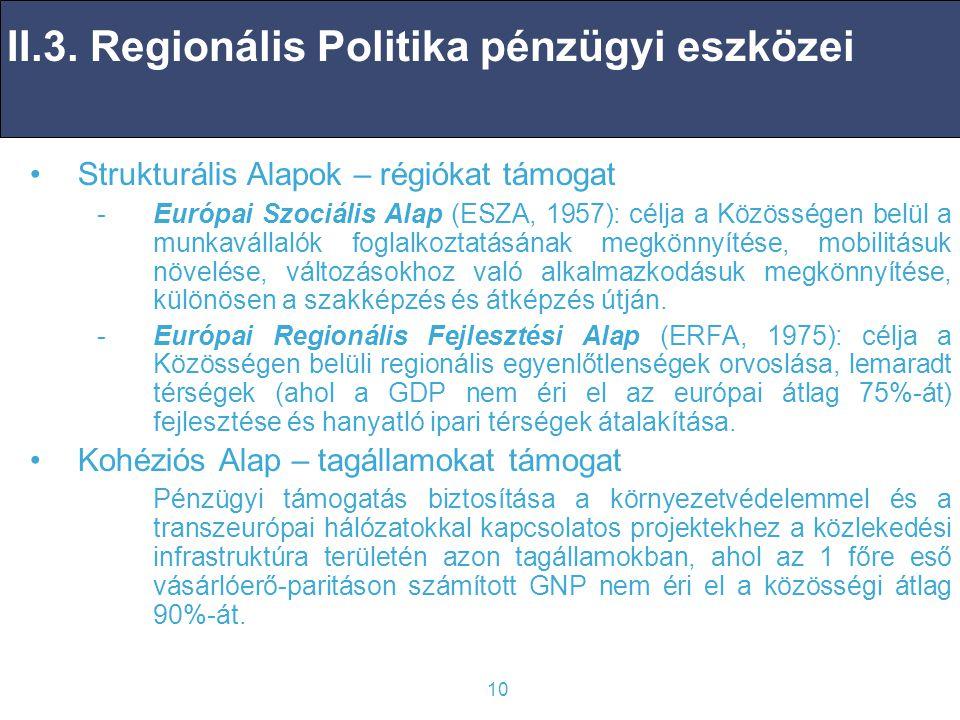 10 Strukturális Alapok – régiókat támogat -Európai Szociális Alap (ESZA, 1957): célja a Közösségen belül a munkavállalók foglalkoztatásának megkönnyítése, mobilitásuk növelése, változásokhoz való alkalmazkodásuk megkönnyítése, különösen a szakképzés és átképzés útján.