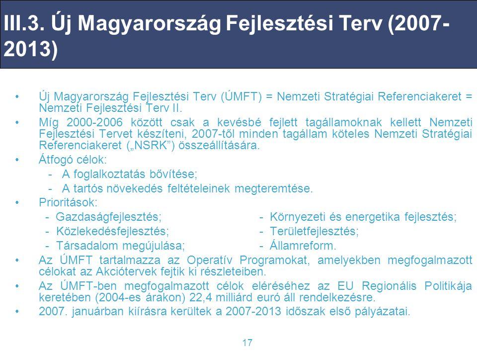 17 Új Magyarország Fejlesztési Terv (ÚMFT) = Nemzeti Stratégiai Referenciakeret = Nemzeti Fejlesztési Terv II.