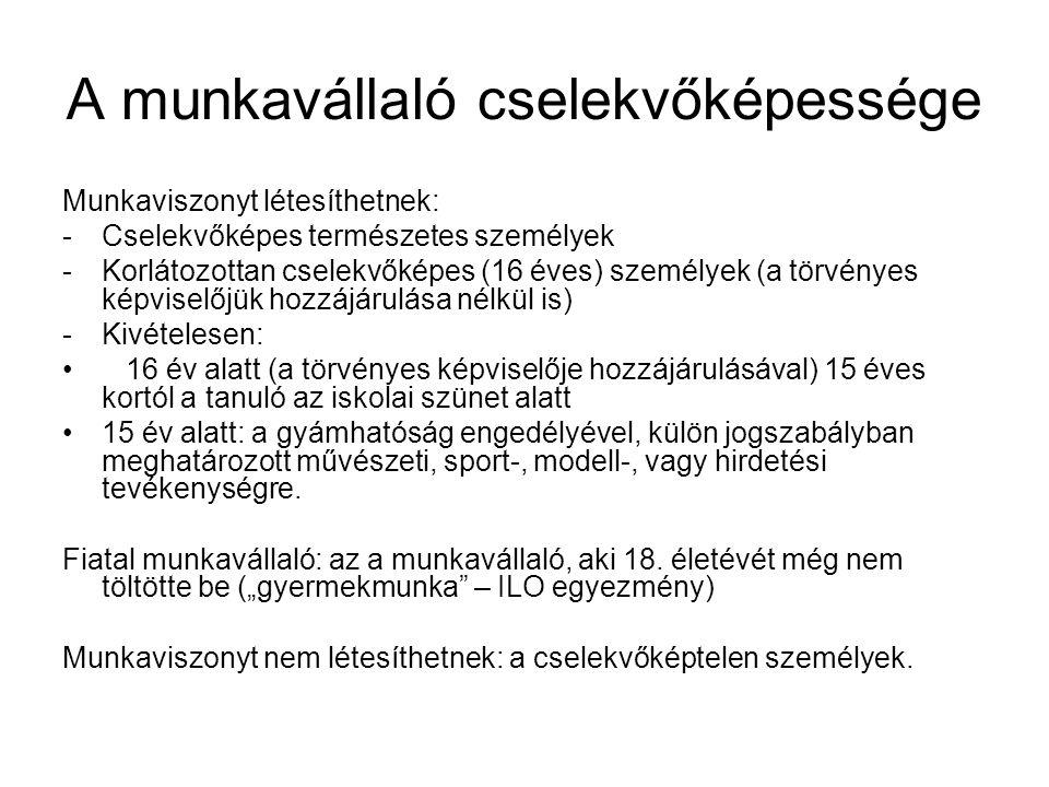 A munkavállaló cselekvőképessége Munkaviszonyt létesíthetnek: -Cselekvőképes természetes személyek -Korlátozottan cselekvőképes (16 éves) személyek (a