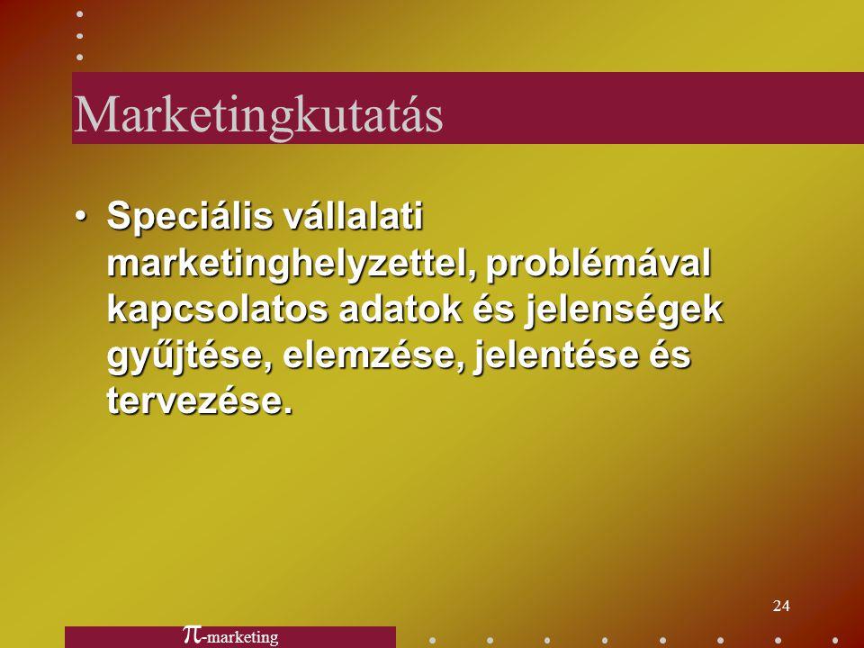 23 Marketing figyelő rendszer Olyan eljárások összessége, amelyeket a menedzserek a marketingkörnyezetben lezajló lényeges folyamatokkal, jelenségekke
