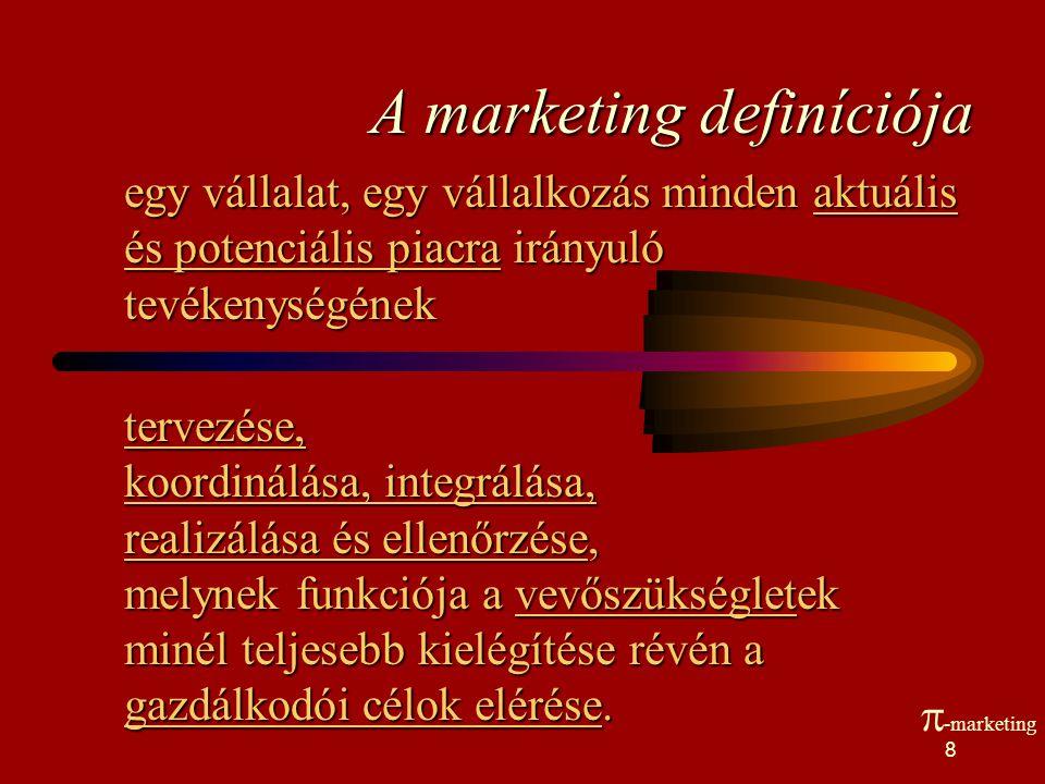 7 Marketing definíció A marketing a tervezésnek és a végrehajtásnak az a folyamata, melynek során elképzelések, áruk és szolgáltatások teremtése, áraz