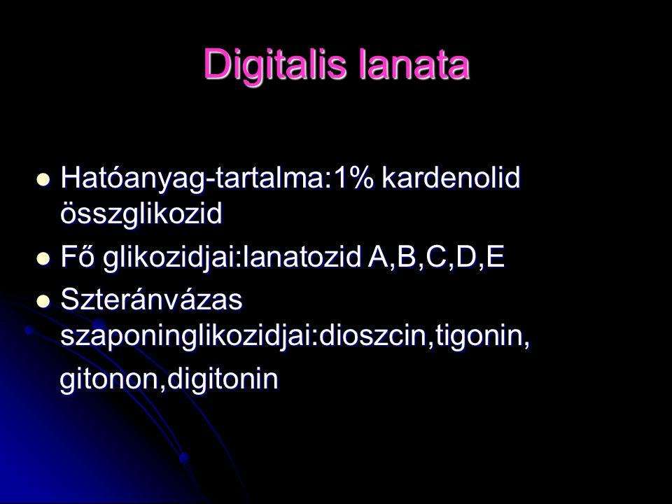 Digitalis lanata Hatóanyag-tartalma:1% kardenolid összglikozid Hatóanyag-tartalma:1% kardenolid összglikozid Fő glikozidjai:lanatozid A,B,C,D,E Fő gli