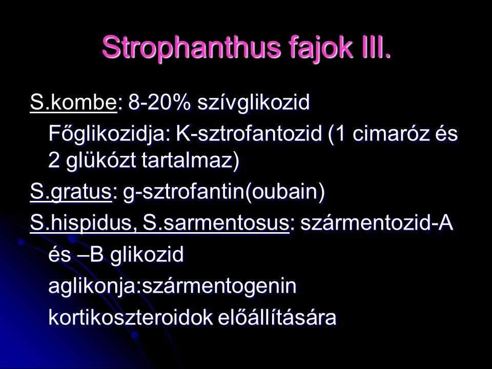 : 8-20% szívglikozid S.kombe: 8-20% szívglikozid Főglikozidja: K-sztrofantozid (1 cimaróz és 2 glükózt tartalmaz) S.gratus: g-sztrofantin(oubain) S.hi