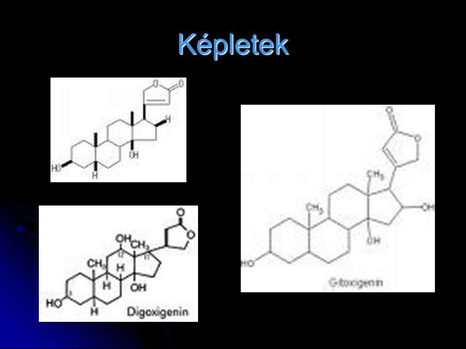 Primer glikozid :aglikon+3 ß-D digitoxóz+glukóz Primer glikozid :aglikon+3 ß-D digitoxóz+glukóz Név:…………..-id Név:…………..-id Aglikon-OH:………..-genin Aglikon-OH:………..-genin Aglikonok:digitoxigenin,digoxigenin,gitoxig enin,gitaloxigenin Aglikonok:digitoxigenin,digoxigenin,gitoxig enin,gitaloxigenin Előállítás:növényből történő izolálás és tisztítás.Levelet szárítják,aprítják.