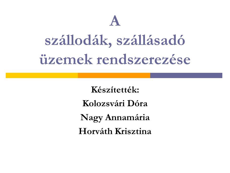 A szállodák, szállásadó üzemek rendszerezése Készítették: Kolozsvári Dóra Nagy Annamária Horváth Krisztina