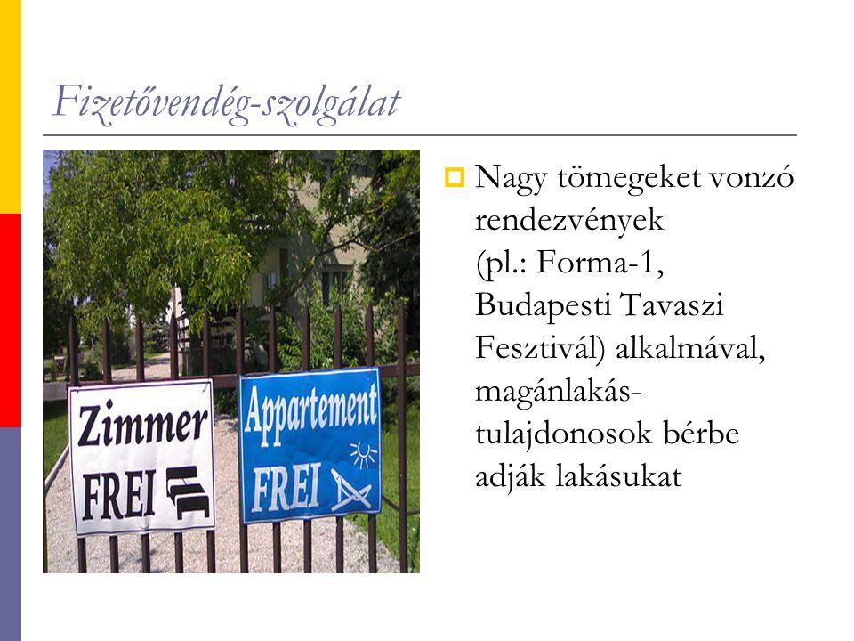 Fizetővendég-szolgálat  Nagy tömegeket vonzó rendezvények (pl.: Forma-1, Budapesti Tavaszi Fesztivál) alkalmával, magánlakás- tulajdonosok bérbe adják lakásukat