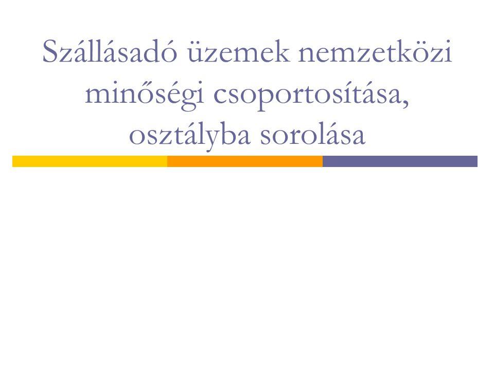 Szállásadó üzemek nemzetközi minőségi csoportosítása, osztályba sorolása