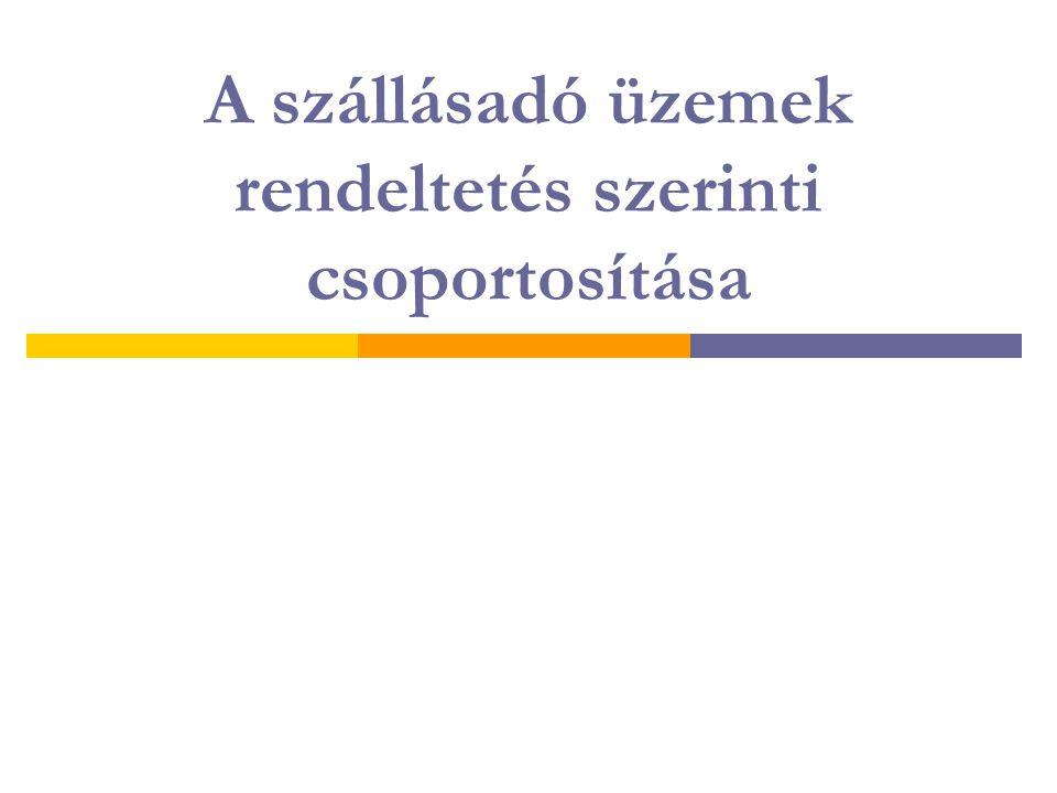 A szállásadó üzemek rendeltetés szerinti csoportosítása