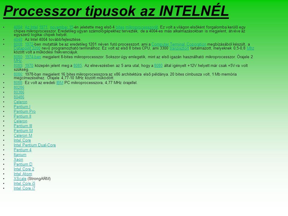 Processzor tipusok az INTELNÉL 4004: Az Intel 1971.