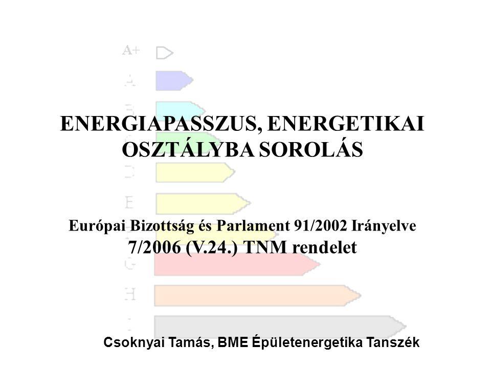 ENERGIAPASSZUS, ENERGETIKAI OSZTÁLYBA SOROLÁS Európai Bizottság és Parlament 91/2002 Irányelve 7/2006 (V.24.) TNM rendelet Csoknyai Tamás, BME Épülete
