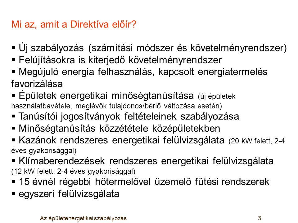 Az épületenergetikai szabályozás3 Mi az, amit a Direktíva előír?  Új szabályozás (számítási módszer és követelményrendszer)  Felújításokra is kiterj