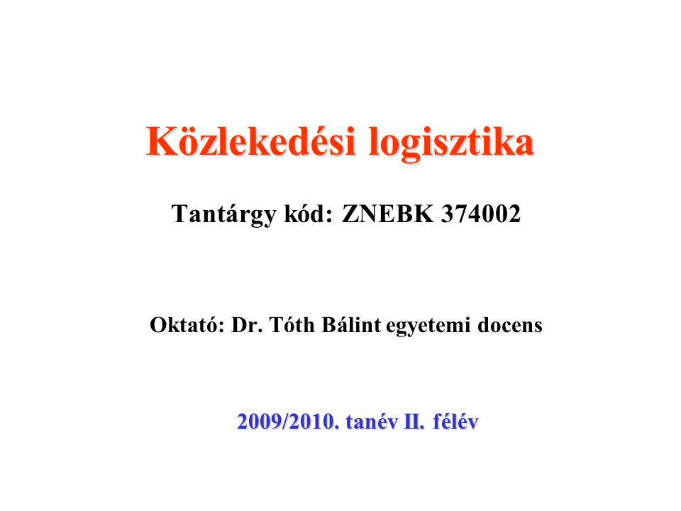 Közlekedési logisztika Tantárgy kód: ZNEBK 374002 Oktató: Dr. Tóth Bálint egyetemi docens 2009/2010. tanév II. félév