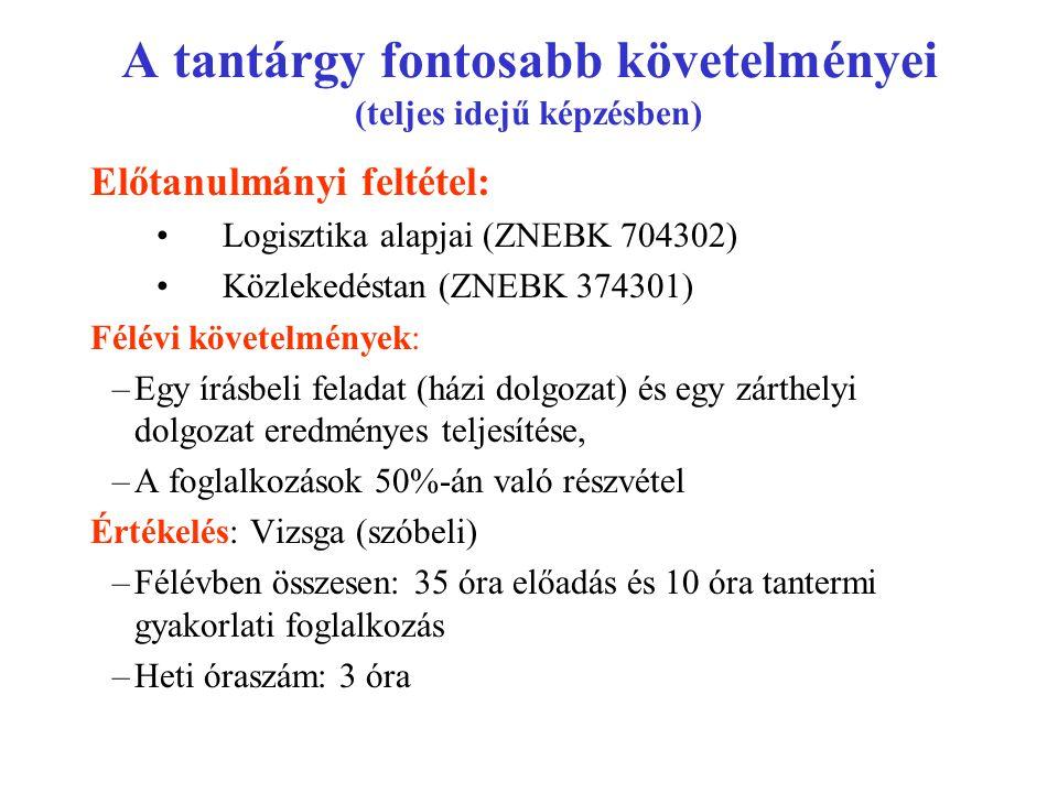 A tantárgy fontosabb követelményei (teljes idejű képzésben) Előtanulmányi feltétel: Logisztika alapjai (ZNEBK 704302) Közlekedéstan (ZNEBK 374301) Fél