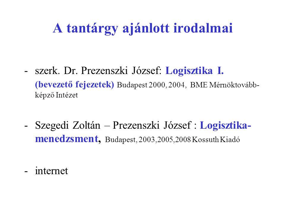 A tantárgy ajánlott irodalmai -szerk. Dr. Prezenszki József: Logisztika I. (bevezető fejezetek) Budapest 2000, 2004, BME Mérnöktovább- képző Intézet -