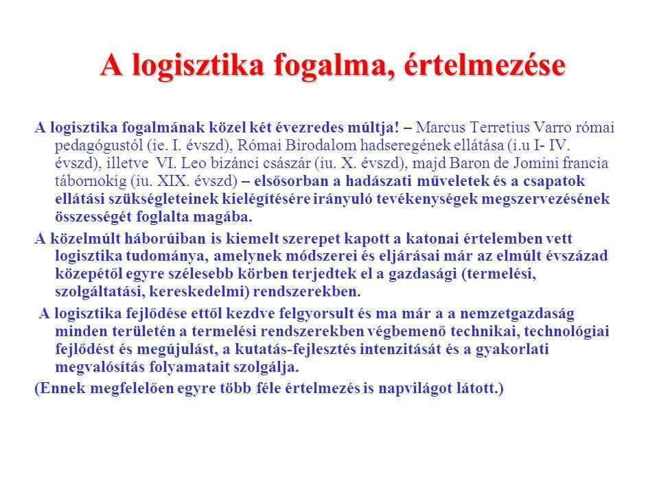A logisztika fogalma, értelmezése (CLM.