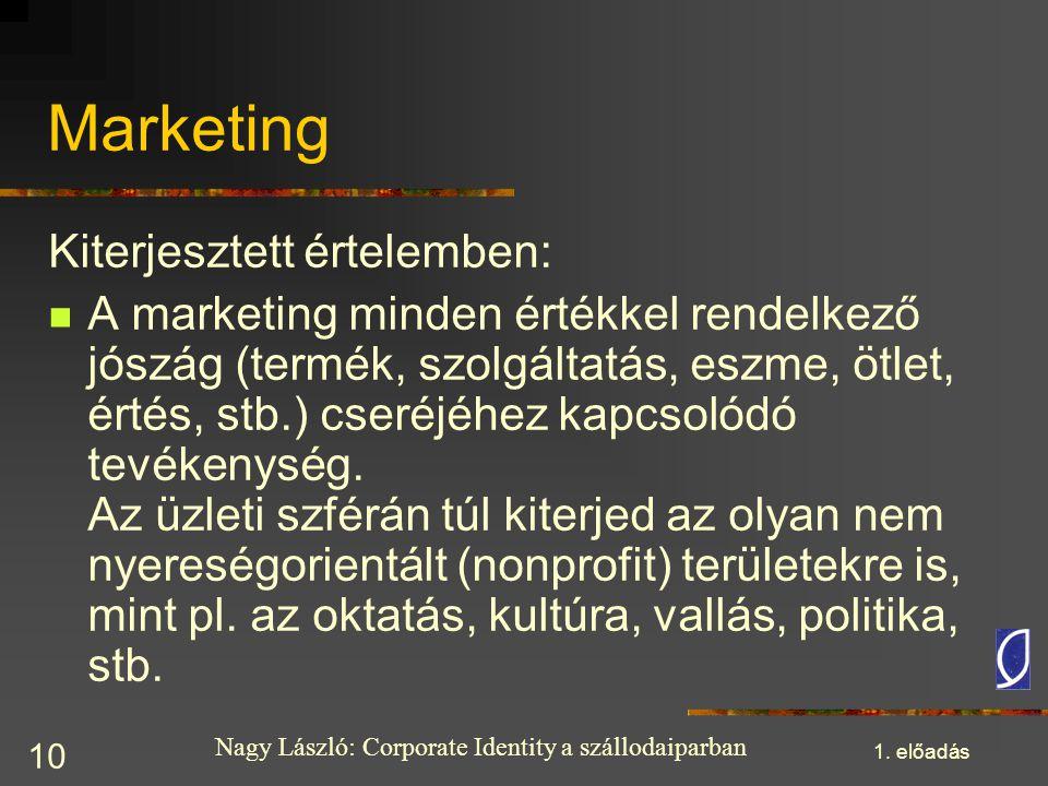 Nagy László: Corporate Identity a szállodaiparban 1. előadás 10 Marketing Kiterjesztett értelemben: A marketing minden értékkel rendelkező jószág (ter
