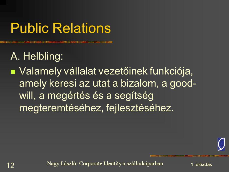 Nagy László: Corporate Identity a szállodaiparban 1. előadás 12 Public Relations A. Helbling: Valamely vállalat vezetőinek funkciója, amely keresi az