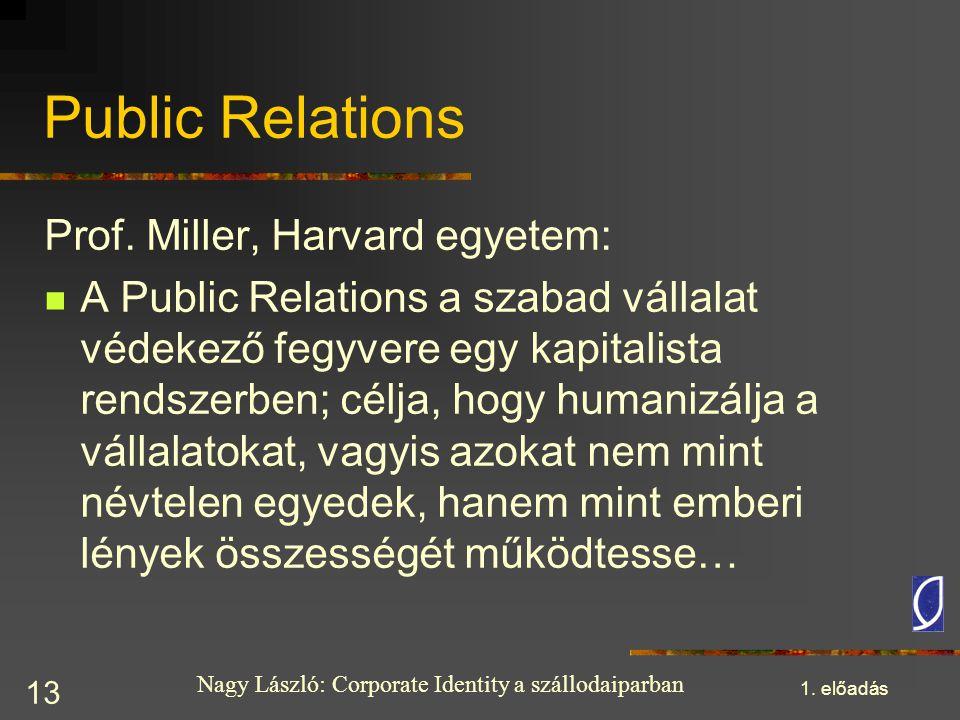 Nagy László: Corporate Identity a szállodaiparban 1. előadás 13 Public Relations Prof. Miller, Harvard egyetem: A Public Relations a szabad vállalat v