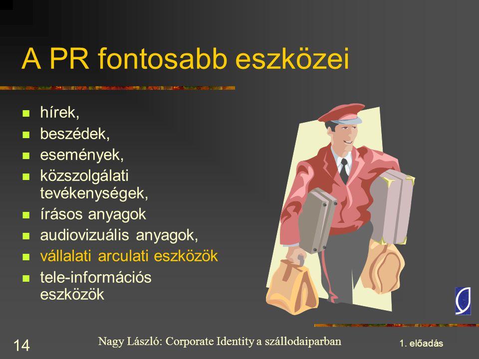 Nagy László: Corporate Identity a szállodaiparban 1. előadás 14 A PR fontosabb eszközei hírek, beszédek, események, közszolgálati tevékenységek, íráso