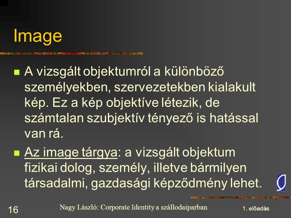 Nagy László: Corporate Identity a szállodaiparban 1. előadás 16 Image A vizsgált objektumról a különböző személyekben, szervezetekben kialakult kép. E