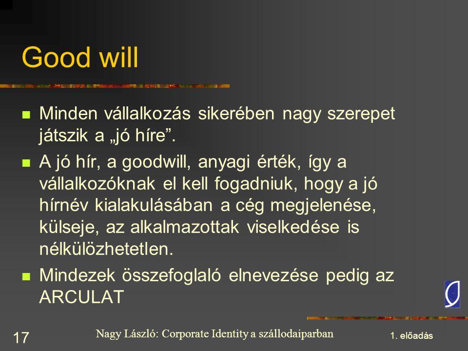 """Nagy László: Corporate Identity a szállodaiparban 1. előadás 17 Good will Minden vállalkozás sikerében nagy szerepet játszik a """"jó híre"""". A jó hír, a"""