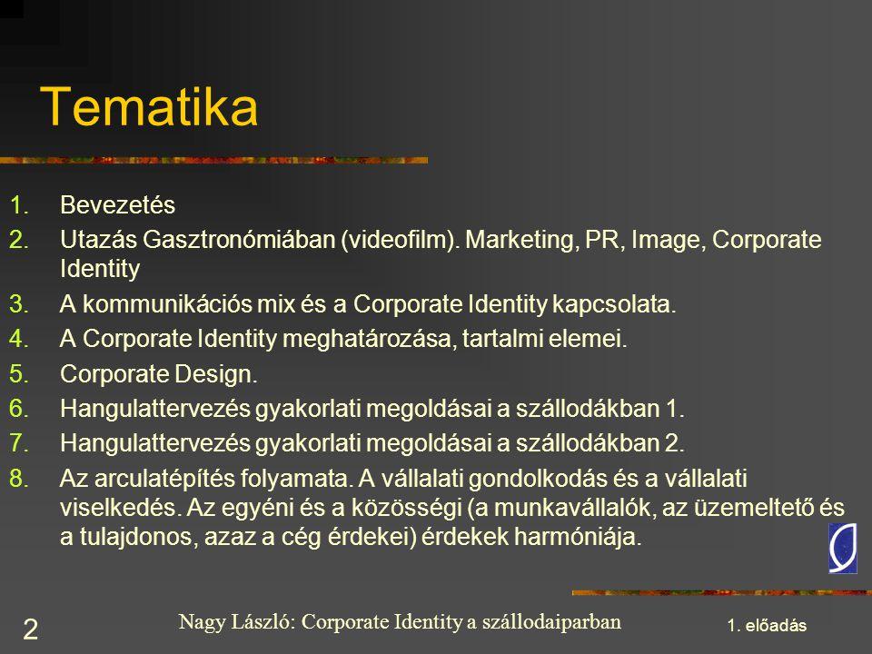 Nagy László: Corporate Identity a szállodaiparban 1. előadás 2 Tematika 1.Bevezetés 2.Utazás Gasztronómiában (videofilm). Marketing, PR, Image, Corpor