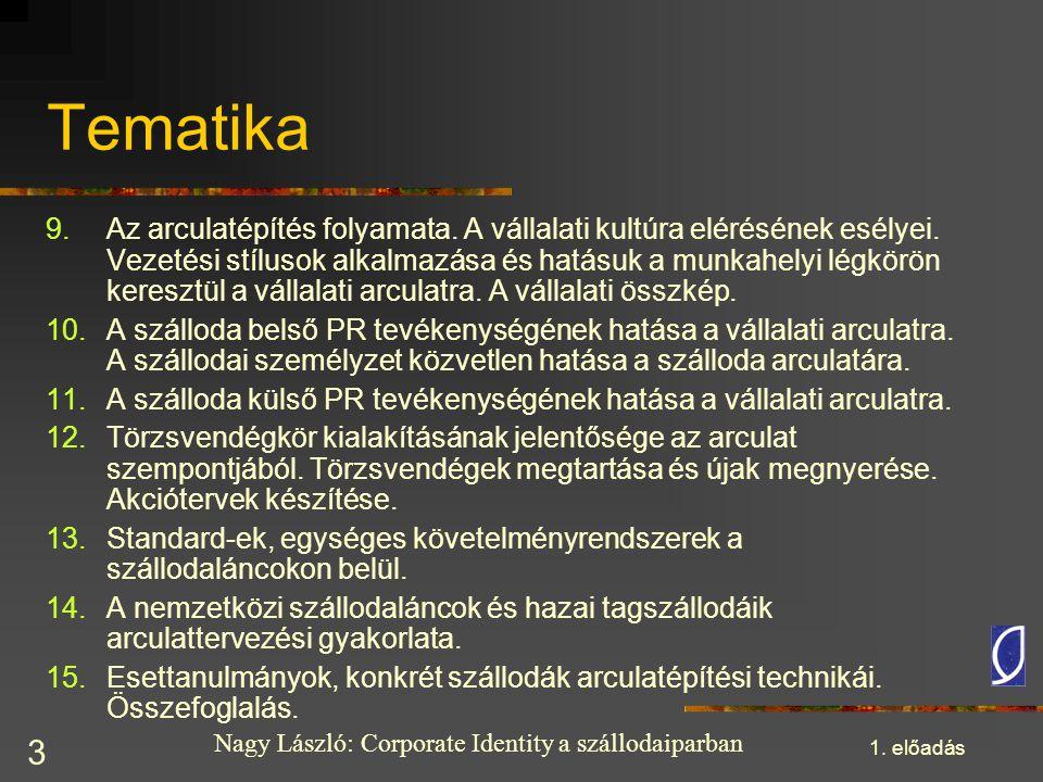 Nagy László: Corporate Identity a szállodaiparban 1. előadás 3 Tematika 9.Az arculatépítés folyamata. A vállalati kultúra elérésének esélyei. Vezetési