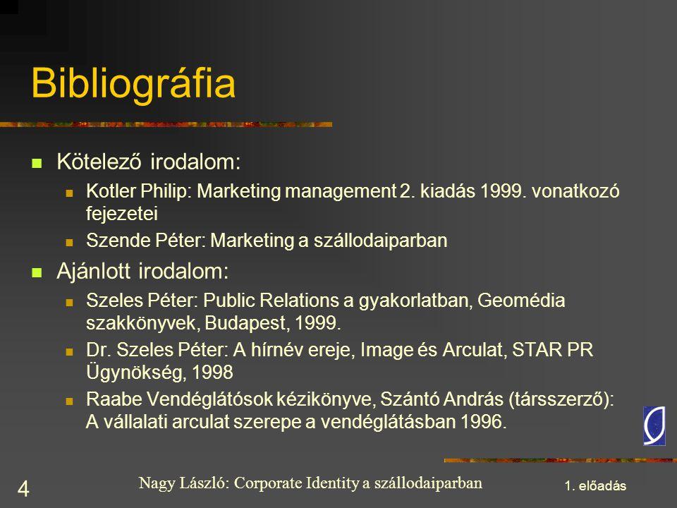 Nagy László: Corporate Identity a szállodaiparban 1. előadás 4 Bibliográfia Kötelező irodalom: Kotler Philip: Marketing management 2. kiadás 1999. von