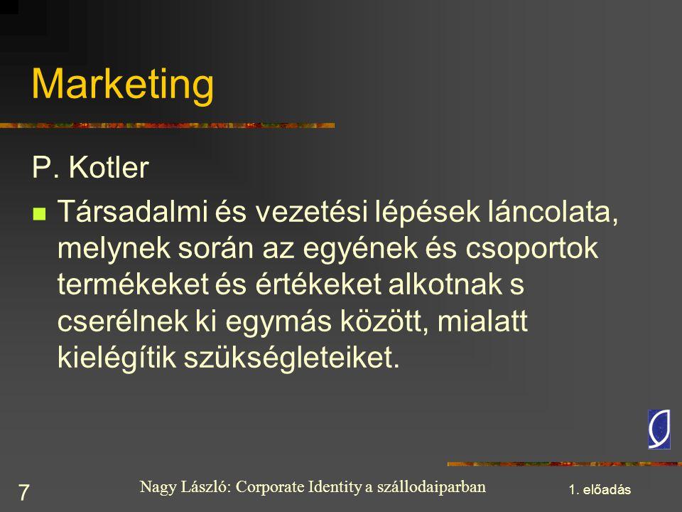 Nagy László: Corporate Identity a szállodaiparban 1. előadás 7 Marketing P. Kotler Társadalmi és vezetési lépések láncolata, melynek során az egyének