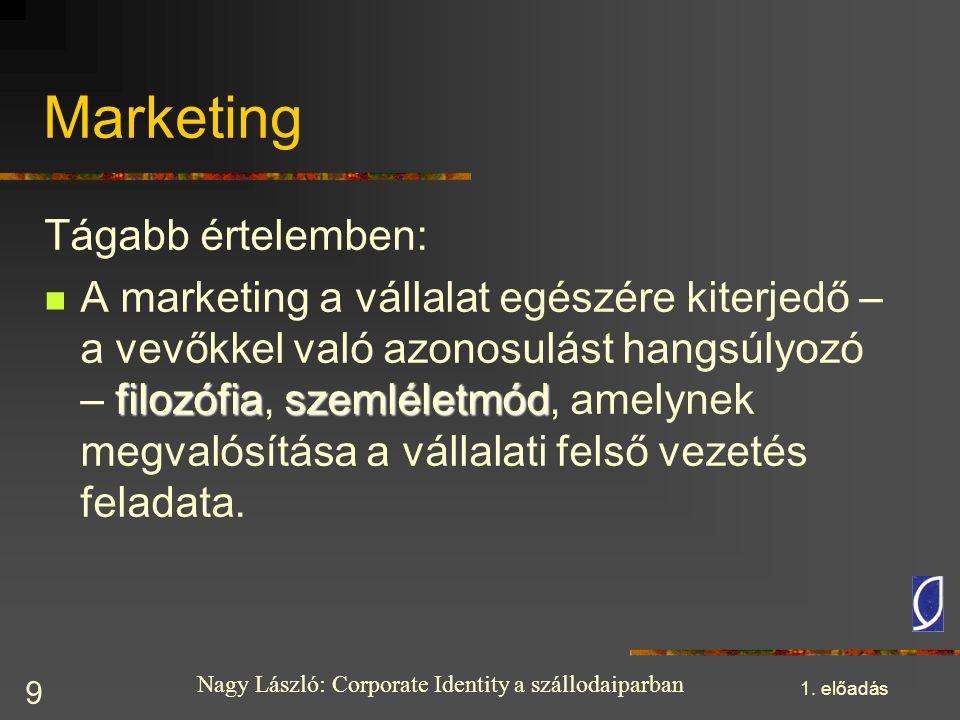 Nagy László: Corporate Identity a szállodaiparban 1. előadás 9 Marketing Tágabb értelemben: filozófiaszemléletmód A marketing a vállalat egészére kite
