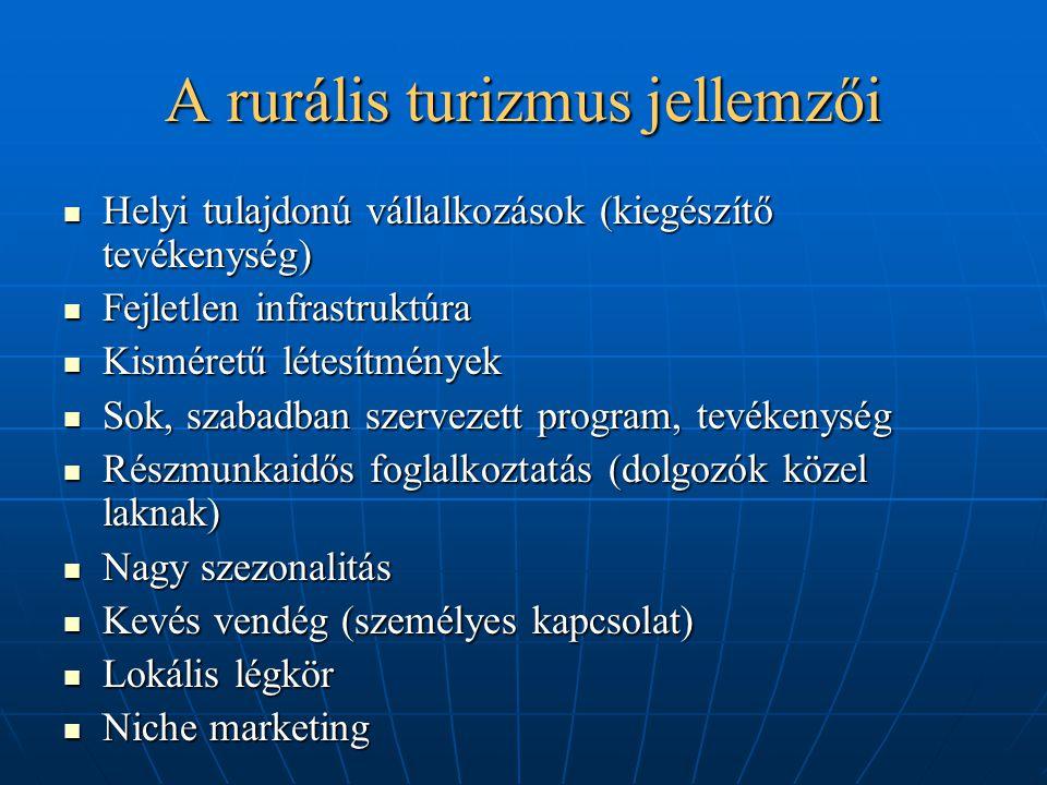 A rurális turizmus jellemzői Helyi tulajdonú vállalkozások (kiegészítő tevékenység) Helyi tulajdonú vállalkozások (kiegészítő tevékenység) Fejletlen i