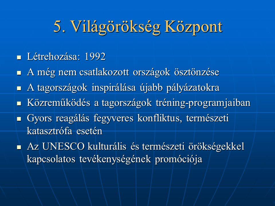 5. Világörökség Központ Létrehozása: 1992 Létrehozása: 1992 A még nem csatlakozott országok ösztönzése A még nem csatlakozott országok ösztönzése A ta