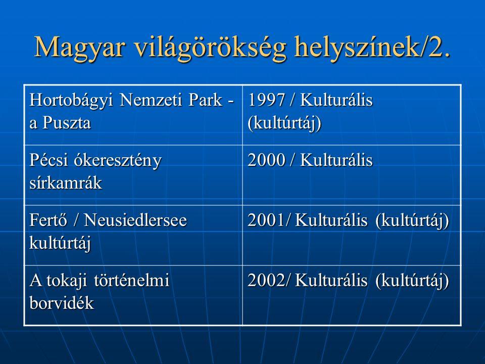 Magyar világörökség helyszínek/2. Hortobágyi Nemzeti Park - a Puszta 1997 / Kulturális (kultúrtáj) Pécsi ókeresztény sírkamrák 2000 / Kulturális Fertő
