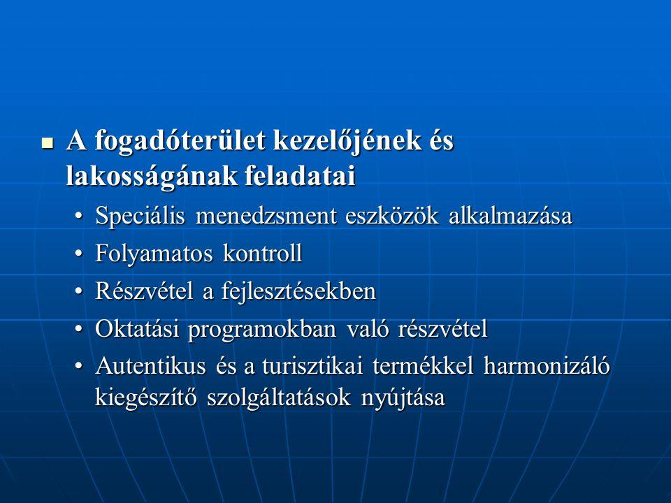 A fogadóterület kezelőjének és lakosságának feladatai A fogadóterület kezelőjének és lakosságának feladatai Speciális menedzsment eszközök alkalmazása