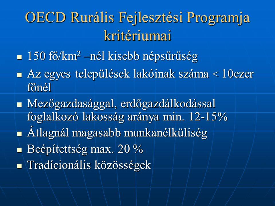OECD Rurális Fejlesztési Programja kritériumai 150 fő/km 2 –nél kisebb népsűrűség 150 fő/km 2 –nél kisebb népsűrűség Az egyes települések lakóinak szá