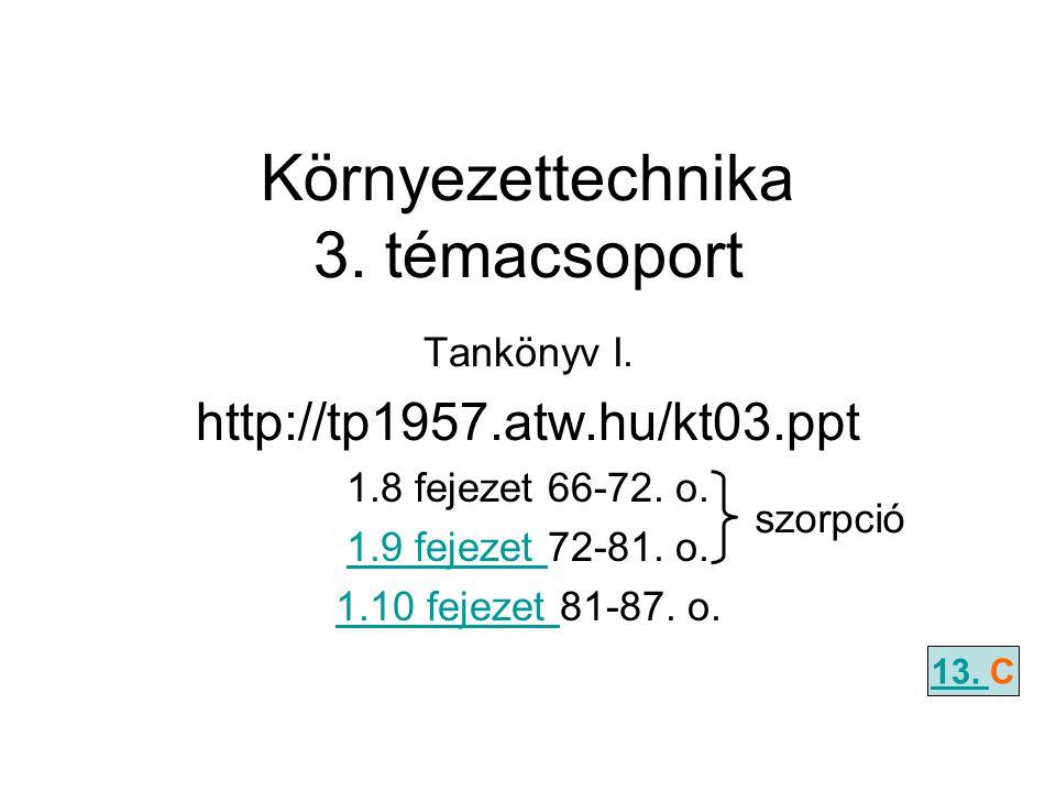 Környezettechnika 3. témacsoport Tankönyv I. http://tp1957.atw.hu/kt03.ppt 1.8 fejezet 66-72. o. 1.9 fejezet 1.9 fejezet 72-81. o. 1.10 fejezet 1.10 f