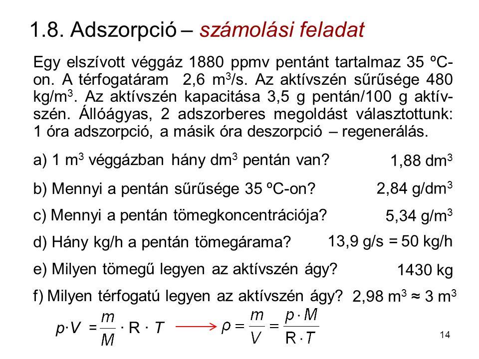 1.8. Adszorpció – számolási feladat Egy elszívott véggáz 1880 ppmv pentánt tartalmaz 35 ºC- on. A térfogatáram 2,6 m 3 /s. Az aktívszén sűrűsége 480 k