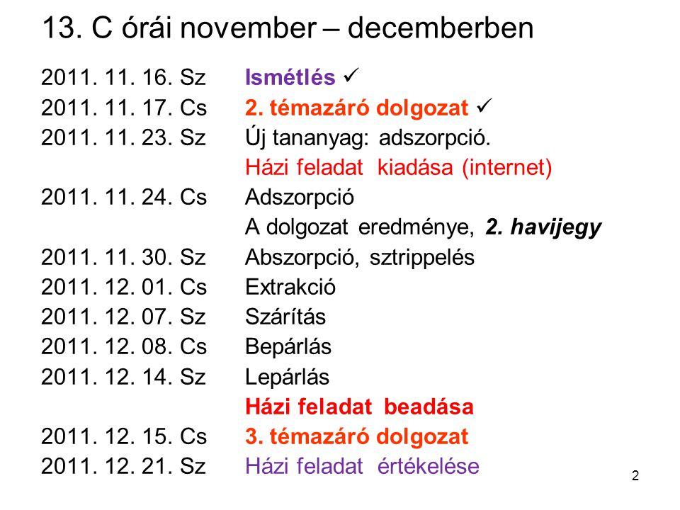 13. C órái november – decemberben 2011. 11. 16. SzIsmétlés 2011. 11. 17. Cs2. témazáró dolgozat 2011. 11. 23. SzÚj tananyag: adszorpció. Házi feladat