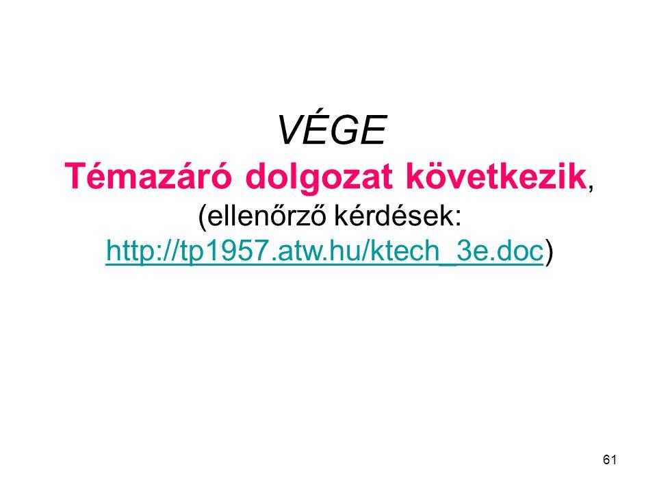 VÉGE Témazáró dolgozat következik, (ellenőrző kérdések: http://tp1957.atw.hu/ktech_3e.dochttp://tp1957.atw.hu/ktech_3e.doc) 61