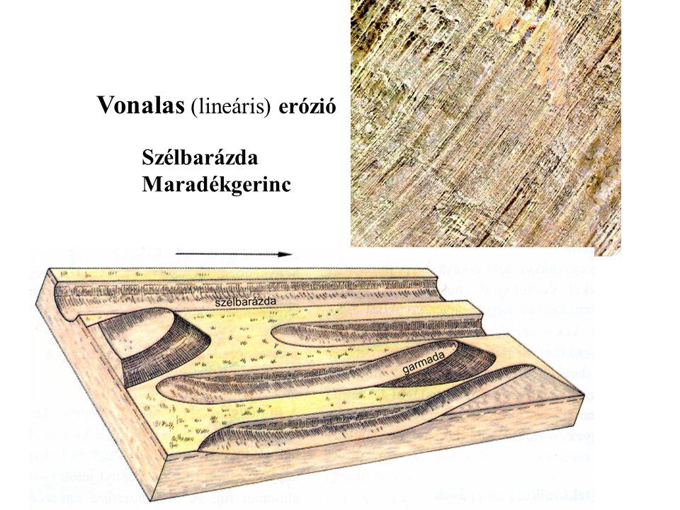 Vonalas (lineáris) erózió Szélbarázda Maradékgerinc