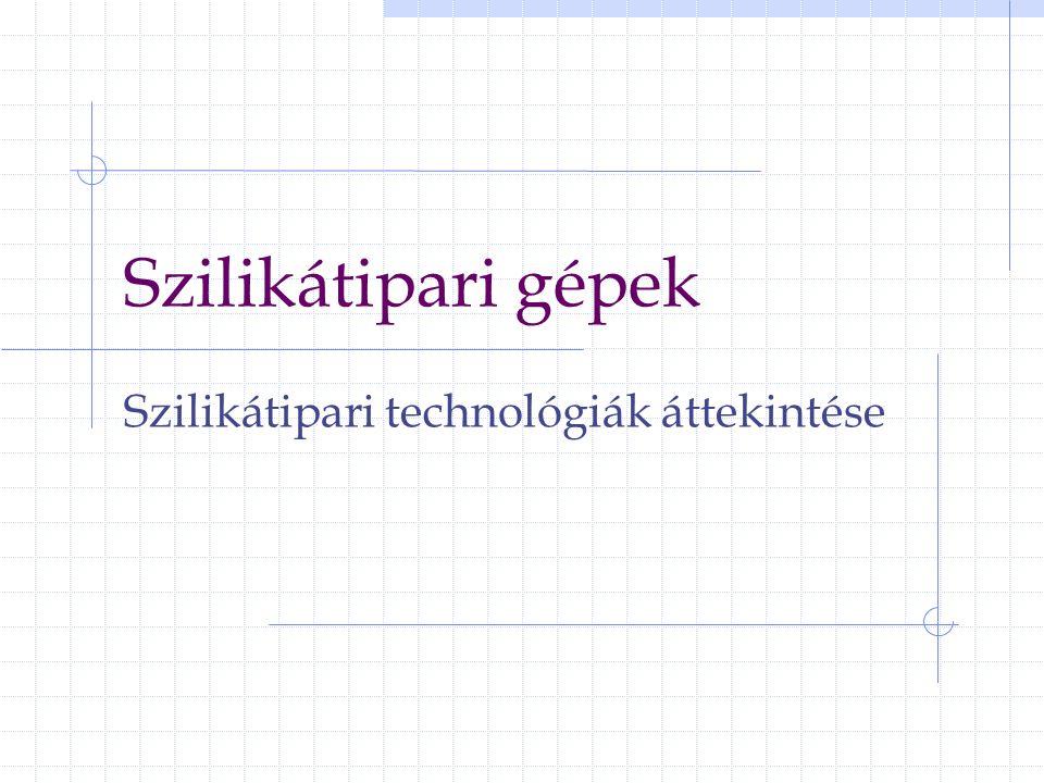 22 Üvegipar Üvegipari nyersanyagok A) Alapanyagok (>95%) az üveg szerkezetére gyakorolt hatás alapján: a) hálózatképzők: SiO 2 P 2 O 5 B 2 O 3 b) módosítók:Al 2 O 3 TiO 2 ZrO 2 B) Segédanyagok