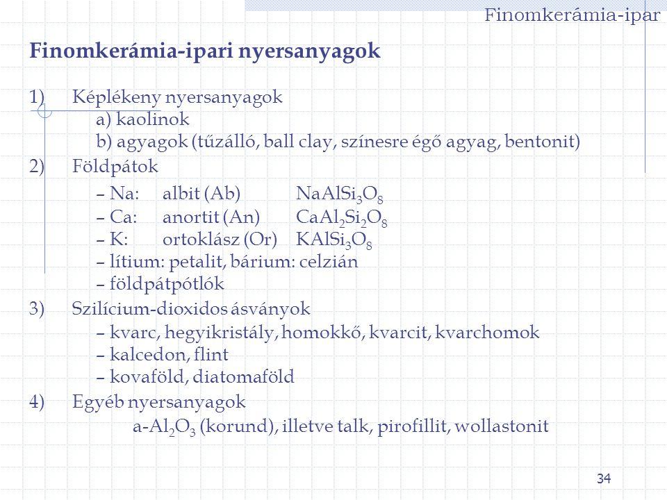 34 Finomkerámia-ipar Finomkerámia-ipari nyersanyagok 1) Képlékeny nyersanyagok a) kaolinok b) agyagok (tűzálló, ball clay, színesre égő agyag, bentoni