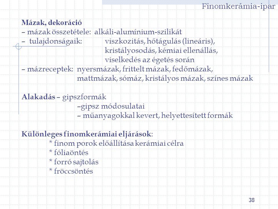 38 Finomkerámia-ipar M á zak, dekor á ci ó – mázak összetétele: alkáli-alumínium-szilikát – tulajdonságaik: viszkozitás, hőtágulás (lineáris), kristál