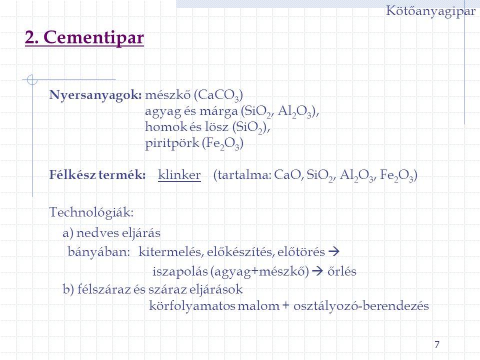 28 V.Tűzállóanyag-ipar 1.) Tűzállóanyagok csoportosítása I.