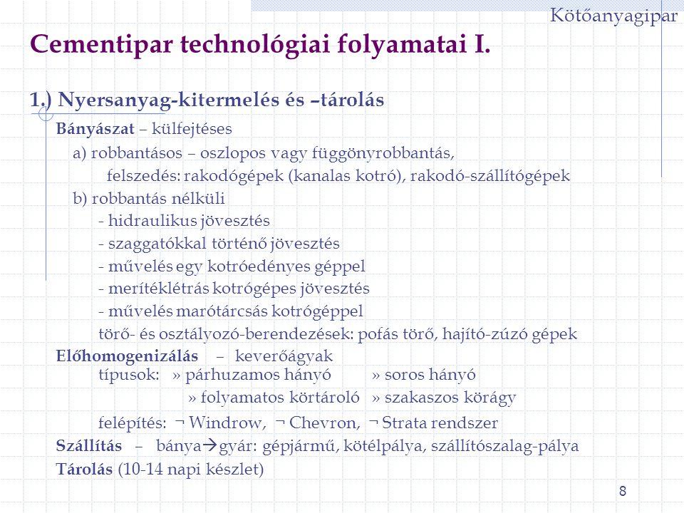 8 Cementipar technológiai folyamatai I. 1.) Nyersanyag-kitermelés és –tárolás Bányászat – külfejtéses a) robbantásos – oszlopos vagy függönyrobbantás,