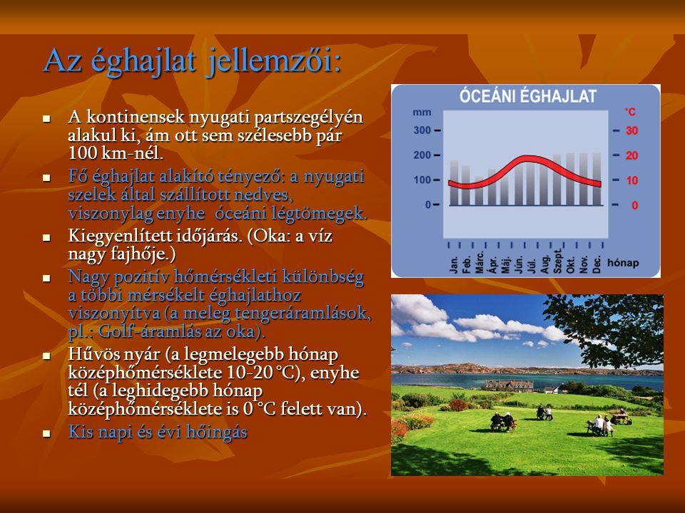 Az éghajlat jellemzői: A kontinensek nyugati partszegélyén alakul ki, ám ott sem szélesebb pár 100 km-nél.