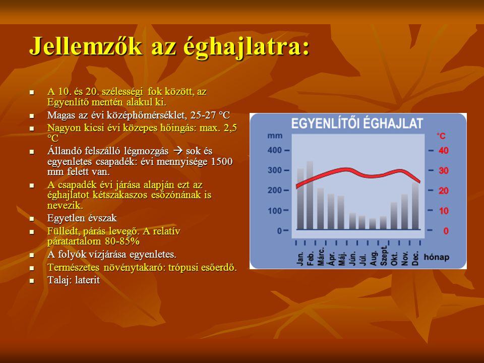 Jellemzők az éghajlatra: A 10. és 20. szélességi fok között, az Egyenlítő mentén alakul ki. A 10. és 20. szélességi fok között, az Egyenlítő mentén al