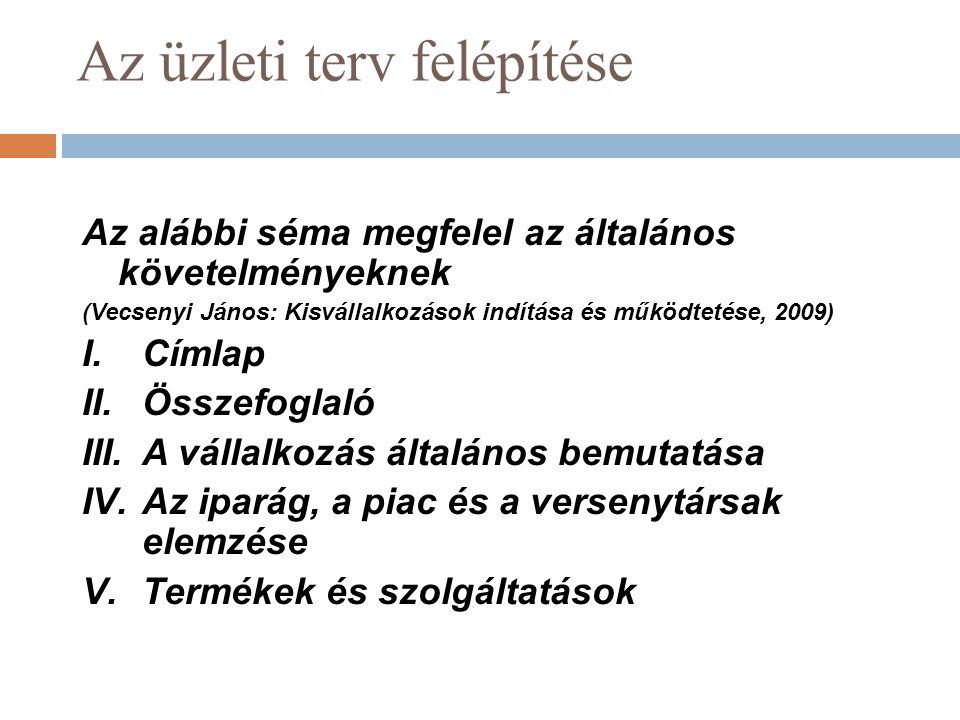 Az üzleti terv felépítése Az alábbi séma megfelel az általános követelményeknek (Vecsenyi János: Kisvállalkozások indítása és működtetése, 2009) I.Cím