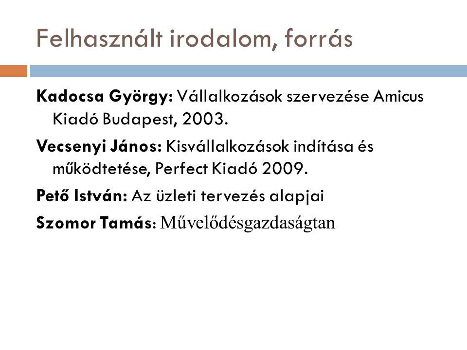 Felhasznált irodalom, forrás Kadocsa György: Vállalkozások szervezése Amicus Kiadó Budapest, 2003. Vecsenyi János: Kisvállalkozások indítása és működt