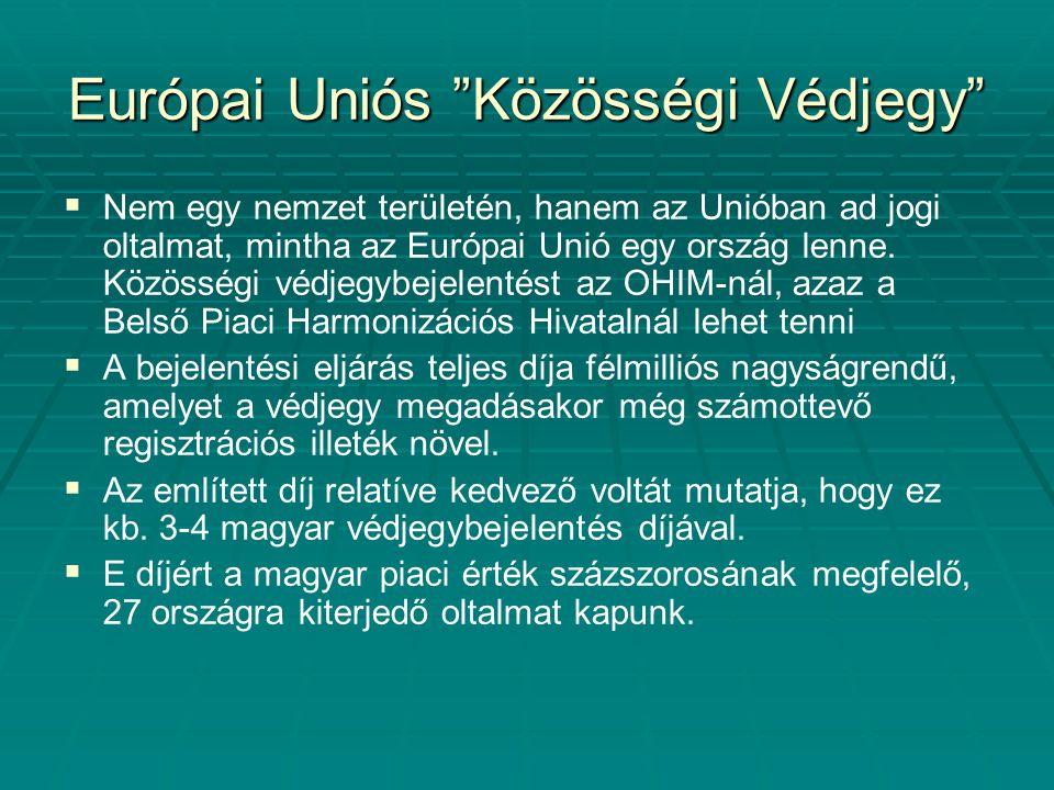 """Európai Uniós """"Közösségi Védjegy""""   Nem egy nemzet területén, hanem az Unióban ad jogi oltalmat, mintha az Európai Unió egy ország lenne. Közösségi"""